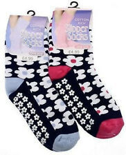 2 x Pairs Ladies Cotton Slipper Socks  Under The Tree Gifts Pink & Blue