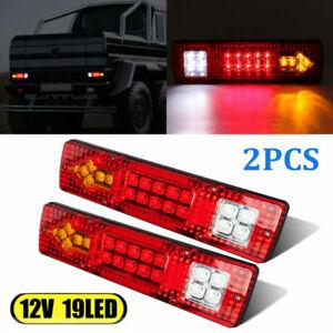 2PC 19-LED Turn Signal Brake Reverse Tail Running Lights Truck Trailer RV Camper