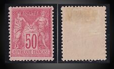1890 FRANCE SAGE PEACE AND COMMERCE 50C CARMINE ROSE MINT H.FOLD SCT. 101 YT. 98