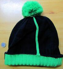 BONNET noir & vert avec pompon - SNOW - Taille UNIQUE - ETHNIQUE - NEUF
