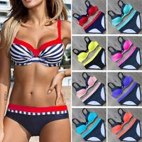 Plus Size Women Triangle Bikini Set Push-up Padded Top Beach Swimsuit Swimwear