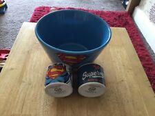 Superman Retro Costume Bowl Ceramic + Egg Cups Marvel Comics Soup Cereal
