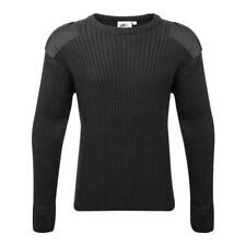 Crew Neck Blue Castle Military Black Epaulette Combat Jumper. L -