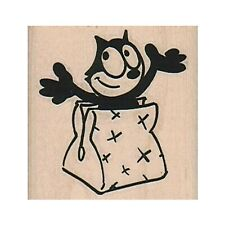Mounted Rubber Stamp, Felix The Cat, Cartoon Cat, Cat, Kitty, Felix In A Bag