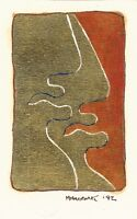 "D.C.Milionis ""TWO GIANTS"" Signed Gouache Painting on Paper Greek Gold Foil 1992"