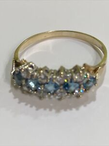Lovely 9ct Gold Blue Topaz And CZ Eternity Ring. Size N1/2 US 6.75