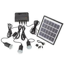 Portable Outdoor 4W Solar Powered Light 3-Lamp Home System Kit Bright CNW