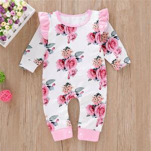 Newborn Baby Girls Floral Romper Bodysuit Jumpsuit Playsuit  Outfits Clothes UK