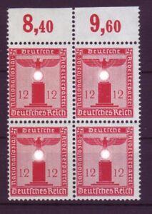 Deutsches Reich Dienst D 161 ohne WZ 4er Bl. 12 Pf Oberrand **/2