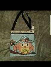 New Owl w/Hat Woven Knit Messenger Bag