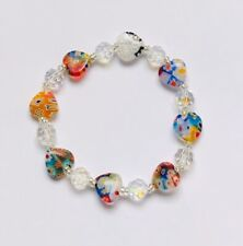 Stunning Millefiori Glass  Heart & Crystal Bracelet With A Twinkle.-) 1