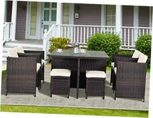 9 Piece Patio Dining Sets Outdoor Space Saving Wicker Rattan Table Brown