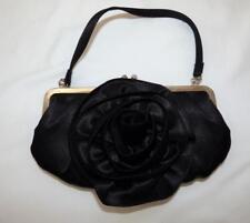 $70 REVIEW BLACK SATIN ROSETTE cliplock EVENING BAG formal dress clutch Diamante
