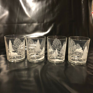 Winter Scene Holiday Glasses -Set of 4-Beautiful!
