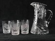 Brilliant Cut Glass Water Pitcher & Tumbler Set, Floral & Harvard, Antique ABP