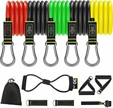 GUDEHOLO Resistance Bands Natural Latex 150 LBS with Handles, 12 pcs Exercise Ba