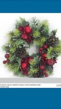 Plastic Christmas Door Wreath large Candle Ring Holly Fruits sale clearance pine