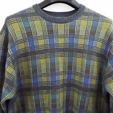 Tricots St. Raphael Men's M 100% Wool Gray Blue Green Plaid Crewneck Sweater
