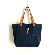 MELPLE!!! Lovely 'Melple' navy canvas tote bag with leather trims