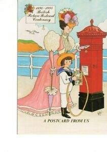postcard: LADY IN CRINOLINE DRESS BOY IN SAILOR SUIT POST BOX  Rosalind Wicks