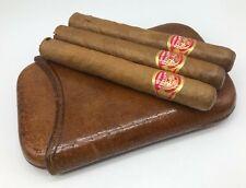 Vintage Mens Tan Leather Cuban Cigar Travel Case