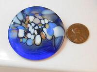Dichroic Glass Cobalt Sky Blue Round Art Glass Brooch Pin 8L 26