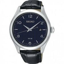 Seiko Gents Solar Leather Strap Watch SNE491P1-NEW