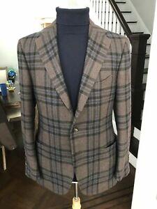 Cesare Attolini Brownish Grey With Purple Cashmere Wool Sport Jacket 40US 50EU