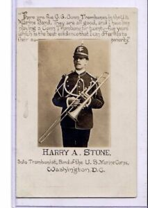 Real Photo Postcard RPPC Advertising G G Conn Trombone Harry Stone Marine Band