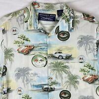 Vintage NEWPORT BLUE Chevrolet Corvette Hawaiian Shirt Mens Large General Motors