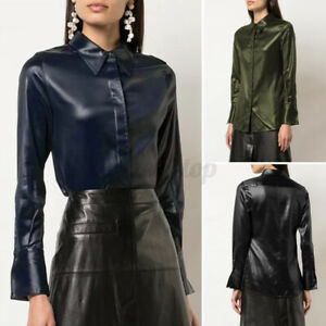 Size Womens Long Sleeve Faux Leather Shirt Shirts Blouse Ladies Button Top Shirt