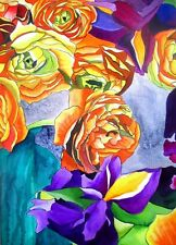 ORIGINAL ART - Ranunculus and Iris flower watercolour