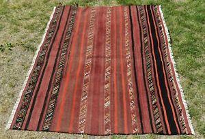 Anatolian Tribal Unique Laine Moquette Vintage Handmade Ethnique Kilim Zone Rug