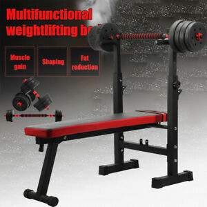 Adjustable Barbell Weight Bench Lifting Flat Dumbbells Sit Up Gym Fitness GYM UK
