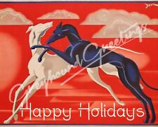 Art Deco Greyhound Christmas Cards - Set of 4, with envelopes