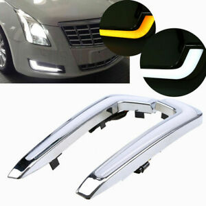 Yellow+White DRL LED Daytime Running Fog Light DRL For Cadillac XTS 2013-16