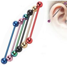 Anodized Industrial Ear Scaffold Barbell Surgical Steel Piercing Bar 14g 38mm Red