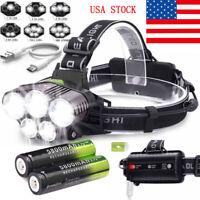 160000LM 5X T6LED Headlamp Rechargeable Headlight 18650 Head Torch Flashlight