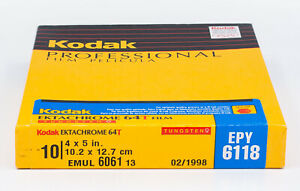 Kodak EKTACHROME 64T EPY 6118 4X5 Film (10 Sheet Box) / NO RESERVE
