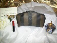"FENDI Pequin Stripe Cosmetic Bag Vintage 80's Zipper w FF Logo 8.25 x 5 x 2.75"""
