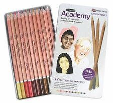 Derwent Academy aquarelle crayon couleurs de peau Tin Set de 12 Water-Soluble Couleurs