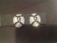 CAROLEE designer signed ENAMEL & Rhinestone earrings clip on gold tone black