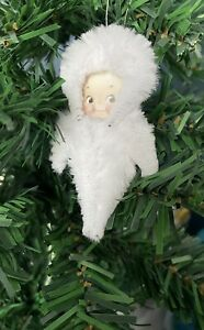 Snow Baby Christmas Decoration Vintage Style Chenille Hanging Handmade Unique
