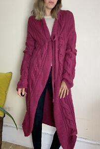 Luxury Anglomania Vivienne Westwood Longline Chunky Cardigan M Uk 12 Dark Pink