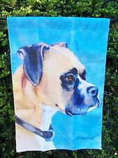 "Boxer Unclipped Ears Dog Breed Blue background Garden Flag ~12""x16"""