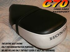 C70  Replacement seat cover with strap Honda C 70 PASSPORT black and white 032A