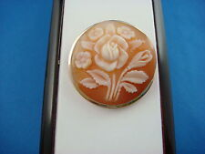 AMAZING FLOWER CAMEO BROOCH-PENDANT, 14K YELLOW GOLD, HANDMADE IN ITALY,6 GRAMS