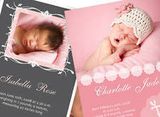 50 CUSTOM PHOTO BIRTH ANNOUNCEMENTS Baby Girl - Glossy Photo Paper!