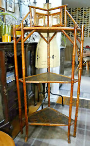 Victorian  Tiger Bamboo Display Cabinet, Corner Shelves. Assist Courier