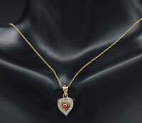 PM199 14K Solid Yellow Gold RED Evil Eye Heart Pendant Good Luck Charm